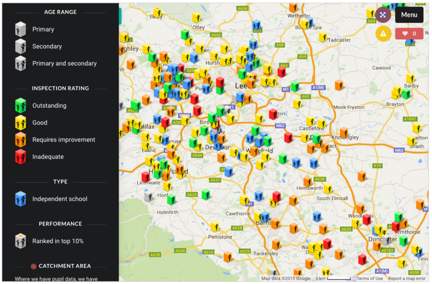 LEEDS BRADFORD Ofsted MAP